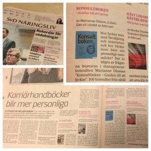 """Konsultboken som boktips i SvD Näringsliv på temat """"karriärhandböcker blir mer personliga"""""""
