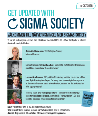 Inbjudan Sigma Society